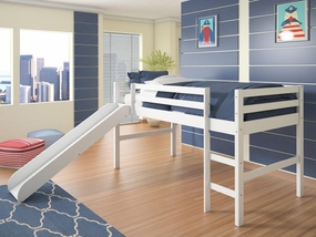 Twin Low Loft Bed with Slide in White