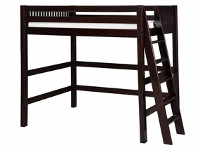 Mission High Loft Bed with Lateral Angled Ladder in Cappuccino
