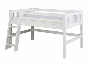 Twin Mission Low Loft Bed in White