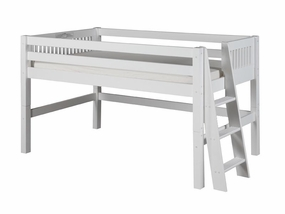 Mission Low Loft Bed with Lateral Ladder in White