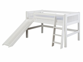 Mission Low Loft Bed with Slide in White