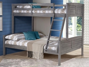 Twin over Full Louver Bunk Bed in Antique Grey
