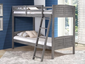 Twin over Twin Louver Bunk Bed in Antique Grey