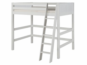 Panel High Loft Bed in White