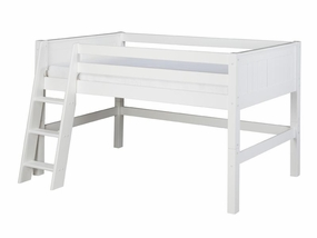 Panel Low Loft Bed in White