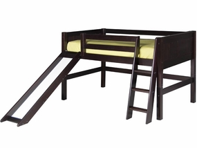 Panel Low Loft Bed with Slide in Cappuccino
