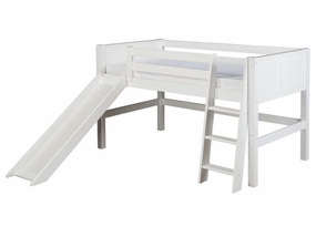 Panel Low Loft Bed with Slide in White