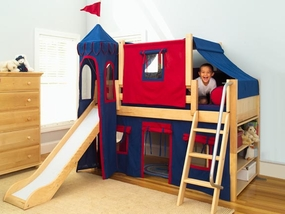 Maxtrix Twin Size Low Loft Beds with Slide