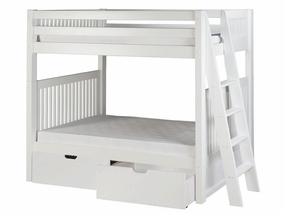 Twin/Twin Mission Bunk Bed with Lateral Ladder and Drawers in White
