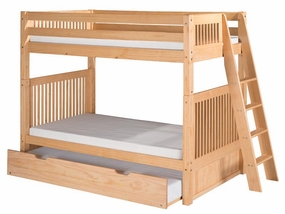 Twin/Twin Mission Bunk Bed with Lateral Ladder and Trundle in Natural