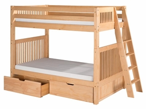 Twin/Twin Mission Bunk Bed with Lateral Ladder and Drawers in Natural