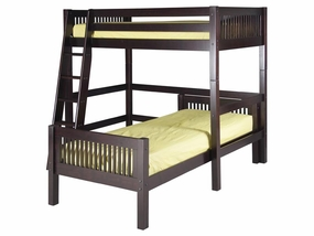 Twin/Twin L-Shape High Loft Bed in Cappuccino