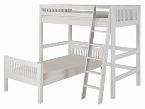 Twin/Twin L-Shape High Loft Bed with in White