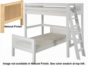 Twin/Twin Mission L-Shape Loft Bed with Lateral Ladder in Natural
