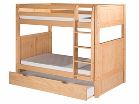 Twin/Twin Panel Bunk Bed with Straight Ladder and Trundle in Natural