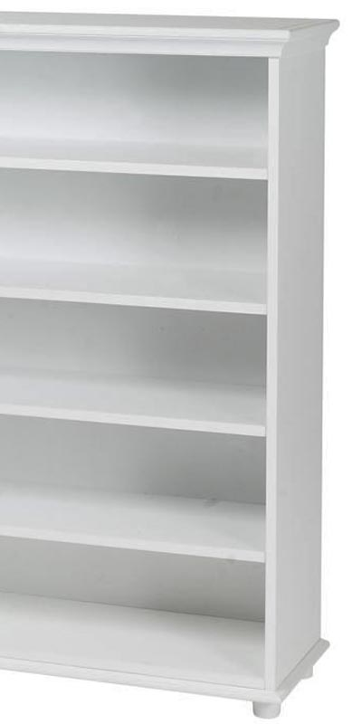 White 5 Shelf Bookcase with Crown and Base