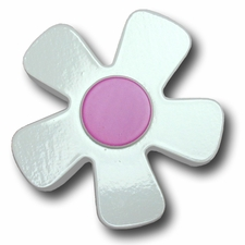 White w/Fuchsia Center Daisy Drawer Pull
