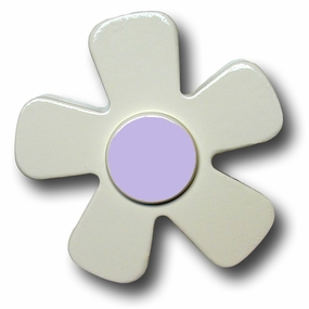 White w/Pastel Purple Center Daisy Drawer Pull