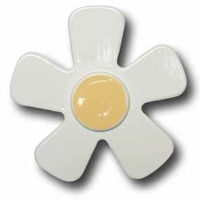 White w/Pastel Yellow Center Daisy Drawer Pull