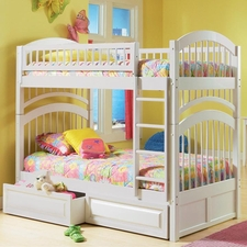 Windsor Twin/Twin Bunk Bed with 2-Drawers in White