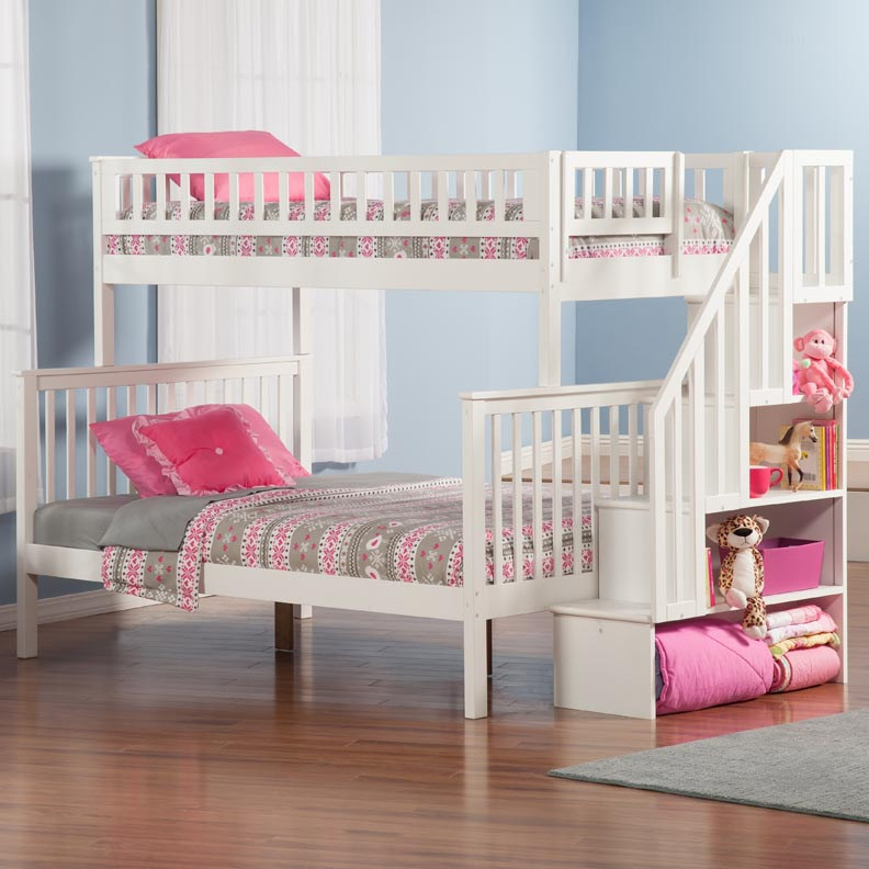 White Bunk Bed with Stairs 792 x 792