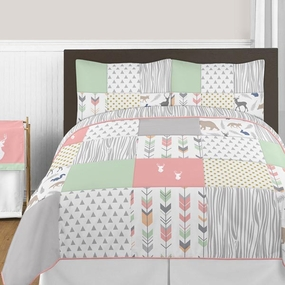 Woodsy Coral, Mint and Grey Kids Bedding Collection