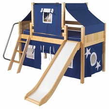 Wow 22 Low Loft Bed with Curtain and Top Tent