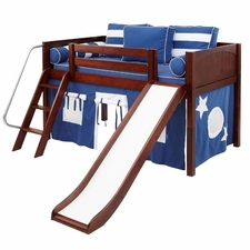 Wow 22NT Twin Low Loft Bed with Slide Angled Ladder and Curtain