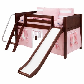 Wow 23NT Twin Low Loft Bed with Slide Angled Ladder and Curtain