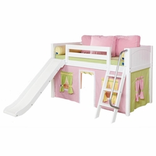 Wow 25NT Twin Low Loft Bed with Slide Angled Ladder and Curtain