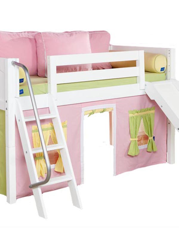 Wonderful Twin Bed With Slide Part - 6: Twin Low Loft Bed With Slide U0026 Pink/Yellow/Green Curtain