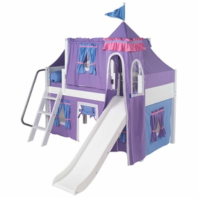 Wow 27 Twin Low Loft Castle Bed with Angled Ladder