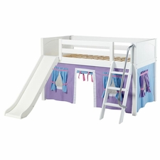 Wow 27NT Twin Low Loft Bed with Slide, Angled Ladder and Curtain