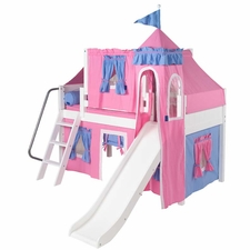 Wow 28 Twin Low Loft Castle Bed with Angled Ladder