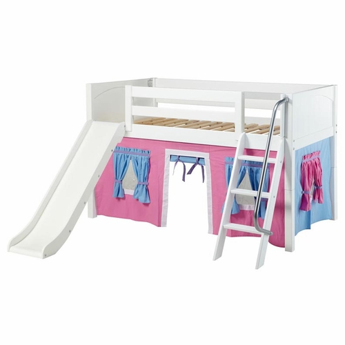 Twin Low Loft Bed with Slide and Hot Pink/Light Blue Curtain - Twin ...