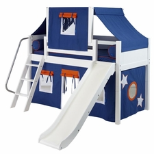 Wow 42 Low Loft Bed with Curtain and Top Tent