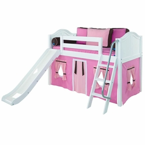 Wow 73NT Twin Low Loft Bed with Slide, Angled Ladder and Curtain