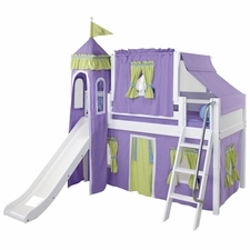 Wow 75 Twin Low Loft Castle Bed with Angled Ladder