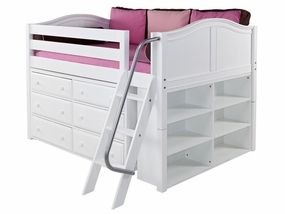 XL 1 Full Low Loft Storage Bed with Angled Ladder