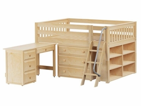 XL 2 Full Low Loft Storage Bed with Angled Ladder