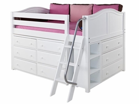 XL 3 Full Size Low Loft Storage Bed with Angled Ladder
