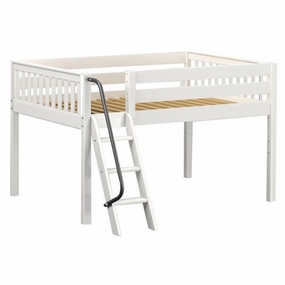 XL Full Low Loft Bed with Angled Ladder