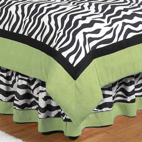 Zebra Lime Full/Queen Bed Skirt