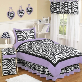 Zebra Purple Kids Bedding Collection