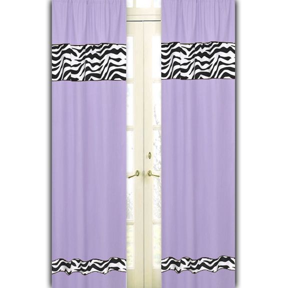 Zebra Purple Window Curtain Panels