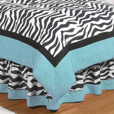 Zebra Turquoise Full/Queen Bed Skirt