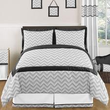 Zig Zag Black & Gray Kids Comforter Set
