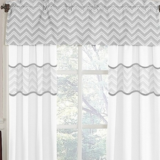 Zig Zag Black & Gray Chevron Window Valance