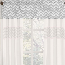 Zig Zag Pink & Gray Chevron Window Valance