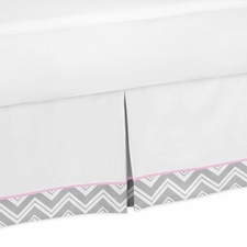 Zig Zag Pink and Gray Full/Queen Bed Skirt